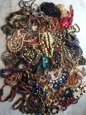 Huge Lot Over 6 Lbs Of Vintage Necklaces Beads For Crafts Or Wearable