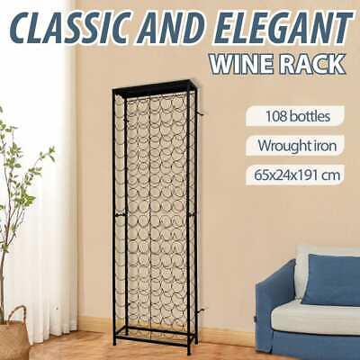 vidaXL Wine Rack for 108 Bottles Metal Cup Storage Cabinet Organiser Shelf
