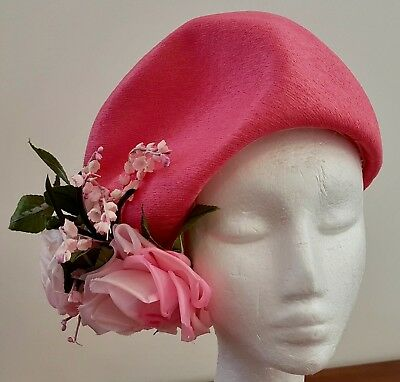 Vintage 60s MR MARTIN Large PINK ROSE FLORAL Decorated PINK Fabric TURBAN HAT