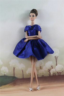 Fashion Blue Mini Skirt Evening Party Dress Gown Clothes For 11.5in.Doll