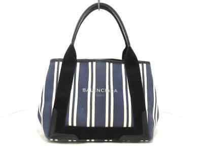 008ecf7aa7 Auth BALENCIAGA Navy Cabas S 339933 Navy Ivory Black Canvas Leather Tote Bag