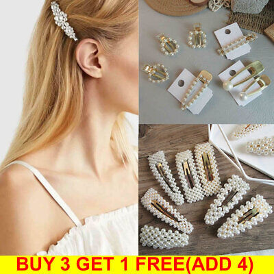 Women Pearl Barrette Hair Clips Hairpin Slide Grips Girls Hair Accessories