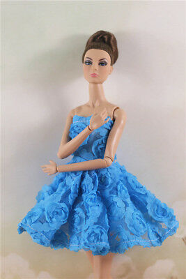 Fashion Blue Flower Skirt Evening Party Dress Gown Clothes For 11.5in.Doll