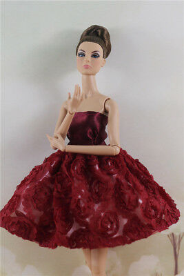 Fashion Red Flower Skirt Evening Party Dress Gown Clothes For 11.5in.Doll