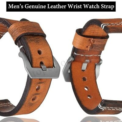 22/24mm Genuine Leather Men's Belt Wrist Watch Strap Vintage Retro Thick Band