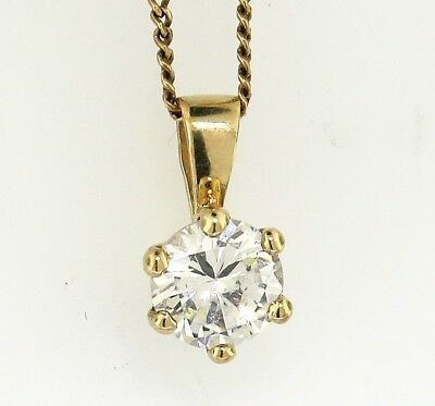 """Yellow Gold """"SPARKLING 1CT GEM SET SOLITAIRE PENDANT"""" Guaranteed Genuine 9k Gold"""