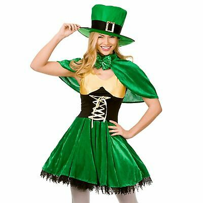 Adult Ladies Lucky Leprechaun Irish St Patricks Day Fancy Dress Costume Outfit