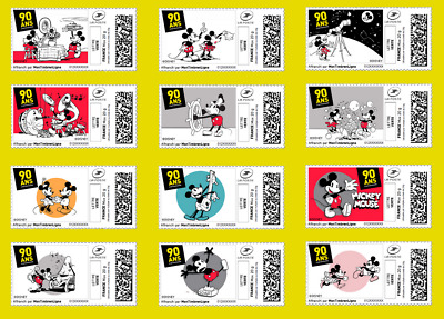 France 2018 Mickey 90 years of enthusiasm - Disney cartoon mouse vintage 12v MNH