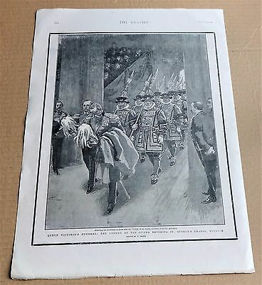 "Queen Victoria Funeral  Antique Print ""yeoman Of The Guard At St Georges Chapel"""