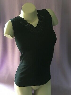 Ex Store V neck lace trim vest with wide shoulder available in Black or White
