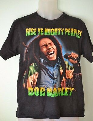 Vintage style Mens shirt Bob Marley T shirt black size M Rise Ye mighty people