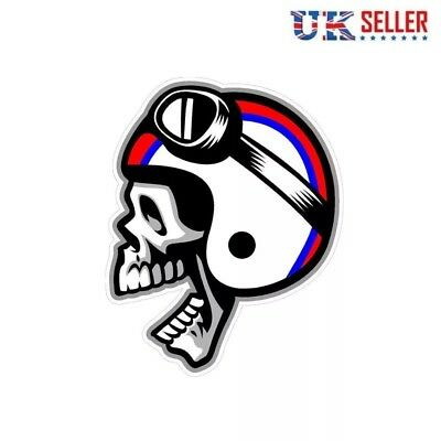 Cafe Racer Skull Helmet Vinyl Sticker Crossbones Car Motorbike Motorcycle -UK