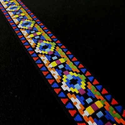 50mm Wide Jacquard Aztec Geometric Embroidered Multi-Coloured Camera Bag Strap