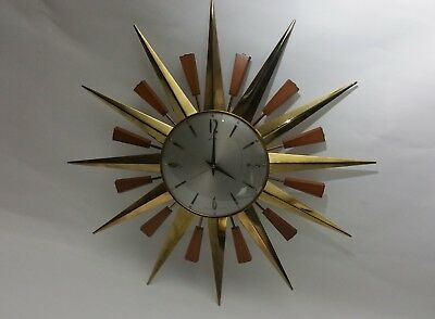 Iconic METAMEC Sunburst Starburst Retro Mid Century 1960's Large Gold Teak Clock