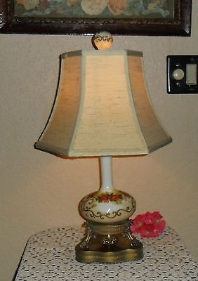 Gorgeous Vintage Chic Table Lamp Light Shabby Rose Decor Ornate Metal Orig Shade