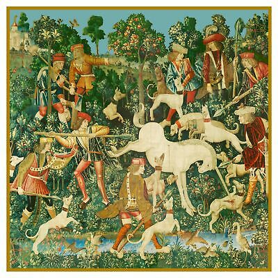 Hunt for Unicorn Defeated from Medieval Tapestry Counted Cross Stitch Pattern