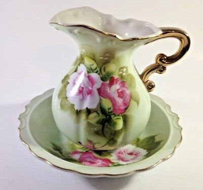 Vintage Lefton Green Heritage Roses Hand Painted Water Pitcher and basin