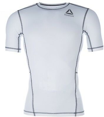Reebok Workout Short Sleeve Mens Compression Top - White