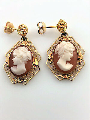 Vintage 14k Yellow Gold Filigree Cameo Drop Earrings