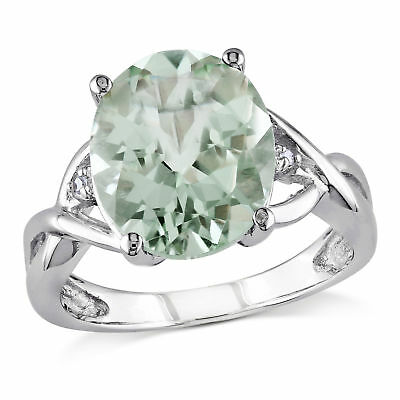 Amour Sterling Silver Green Amethyst and Diamond Accent Cocktail Ring