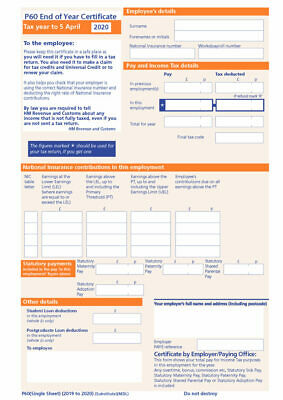 10 x P60 FORMS FOR 2018/19 ORIGINAL HIGH QUALITY FORMS SAGE/IRIS/TAS PAYROLL