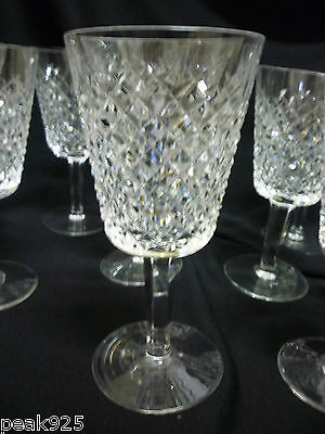"""7 WATERFORD Alana Water Goblet Glasses 6 7/8"""" Old Mark Ireland"""