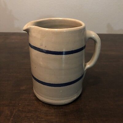 Antique Crock Pottery Pitcher Blue Rings
