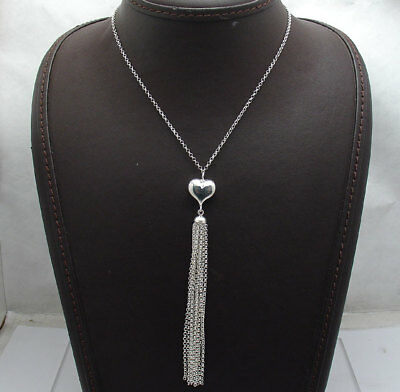 """18"""" Tassel Necklace with Rolo Link Chain Real Sterling Silver Style by QVC 925"""