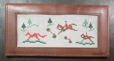 2x HP Needlepoint 18ct Pre-finished Wallets- Golf, Fox Hunting-LB1