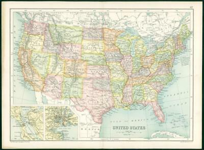 1912 Original Colour Antique Map - UNITED STATES NEW YORK BAY SAN FRANCISCO (69)
