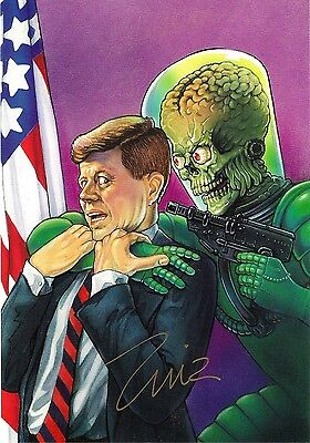 1994 MARS ATTACKS ZINA SAUNDERS SIGNED AUTOGRAPHED JFK CAPTURED PRINT with COA