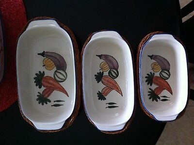 Ceramic Casserole Dishes 6Pc. W / Wicker Serving Baskets