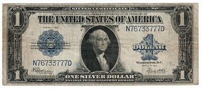 1923 US $1 One Dollar Silver Certificate Blue Seal Large Currency Note H76733777