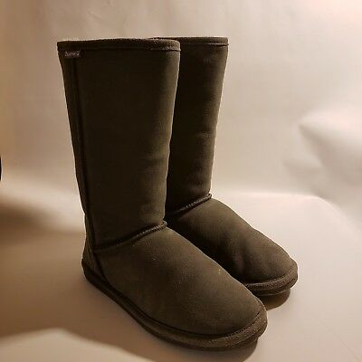 36b27c2cce74 Bearpaw Women s Boots Gray Eva Tall Suede Sheep Skin Wool Lining Size 10  T410W