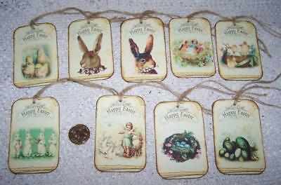 6~Easter~Primitive~Bunny~Rabbit~Fussy Cut~Linen Cardstock~Gift~Hang~Tags~Ornies