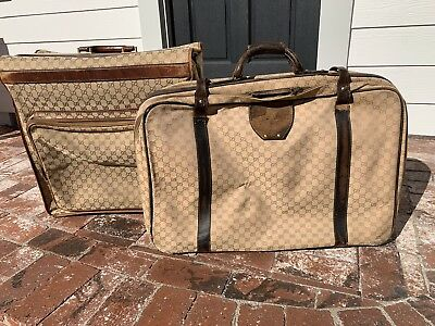 1234f9567 Authentic Vintage GUCCI Suitcase Luggage Travel Bag Weekender GG Logo Canvas