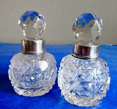 Antique Victorian Pair of Hand Cut Glass Perfume Bottles Sterling Silver Mount