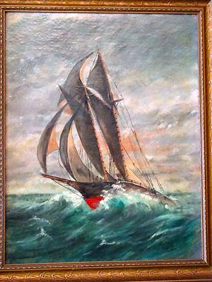Antique Original Oil Painting Gorgeous Galleon Ship and Stormy Seascape