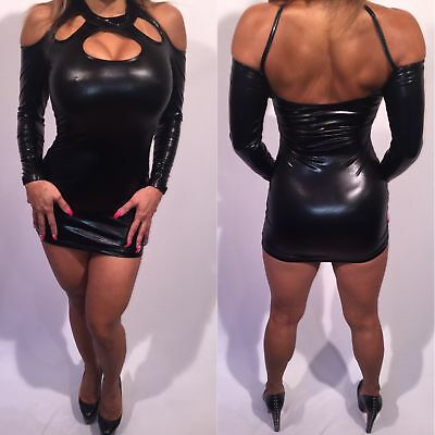 9a59383f2546 Connie's Exclusive Stretch Wet look Long Sleeved Black Micro Mini Dress