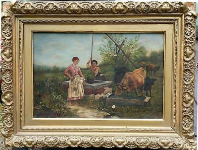 George A. Hays 19th Century Original Antique Oil Painting on Canvas