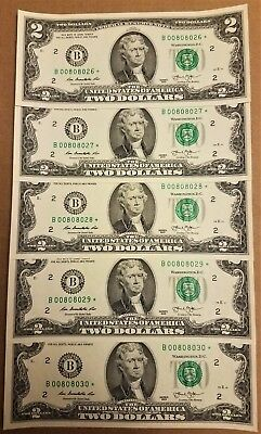 Lot of 10 Sequential Uncirculated Series 2013 $2 Bills Federal Reserve Notes
