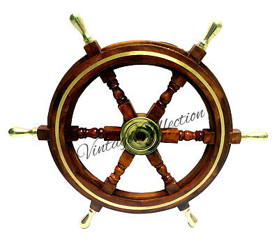 "24"" Antique Wooden Ship Steering Wheel Brass Handle Nautical Boat Wall Decor"