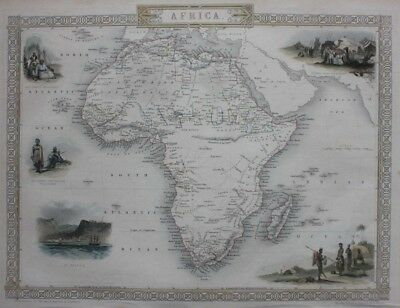 Original antique map AFRICA, MADAGASCAR, Tallis, Rapkin, c.1851