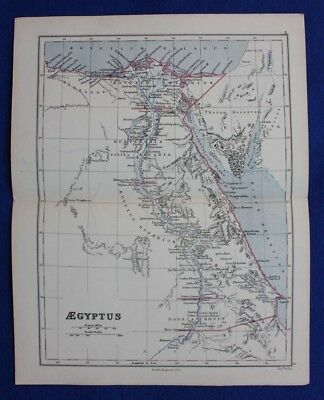 Original antique map ANCIENT EGYPT, 'AEGYPTUS', RIVER NILE, Edward Weller, 1877