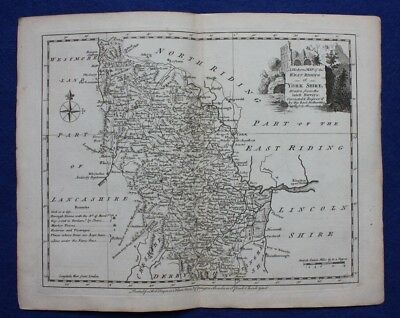 Original antique county map WEST YORKSHIRE, WEST RIDING, J.Ellis, c.1765