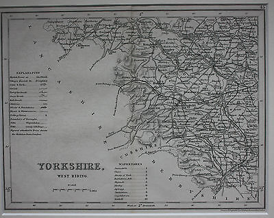 YORKSHIRE WEST RIDING original antique english county map, Joshua Archer, 1847