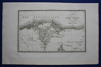 Original antique map LOWER EGYPT, NILE DELTA, Napoleonic Wars, Tardieu c1824