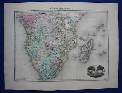 Original antique map AFRICA, SOUTH AFRICA, MADAGASCAR, LIBREVILLE, Migeon 1891