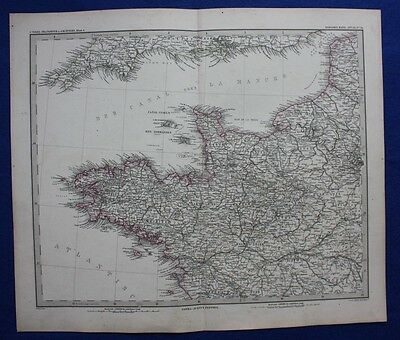 North West France, Brittany, Normandy, original antique map, Stieler 1880