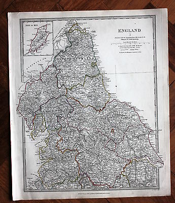 Original antique map, ENGLAND MIDLAND & NORTHERN COUNTIES, SDUK 1831